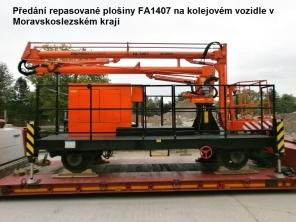 Repasovaná plošina FA1407 na kolejovém vozidle