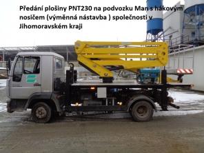 Plošina PNT230 na podvozku Man řešená jako sundávací